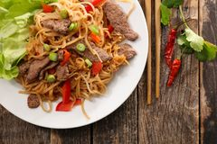 Fried stir fry noodles. Top view Royalty Free Stock Images