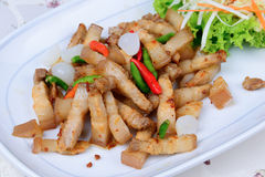 Fried streaky pork with garlic and chili Royalty Free Stock Images