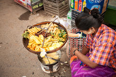 Fried street food, Yangon, Burma Stock Photos