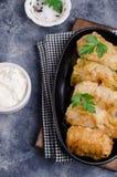 Fried stuffed cabbage stock image