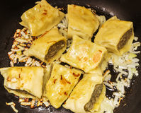Fried Swabian ravioli so-called`Maultaschen` with meat filling royalty free stock photography