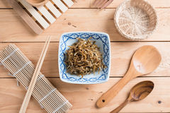 Fried sweet Anchovies in bowl Royalty Free Stock Photo