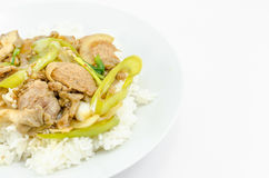 Fried sweet pepper with pork Stock Photography