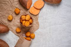 Fried sweet potato balls Stock Photos