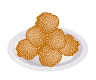 Fried Sweet Potato Balls with Sesame on Plate Stock Photography