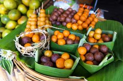 Fried sweet potato balls from Thailand market. Fried sweet potato balls from Thailand local market. It is the local desert of Thailand royalty free stock photography