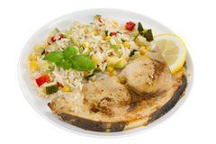 Fried swordfish with rice Stock Image
