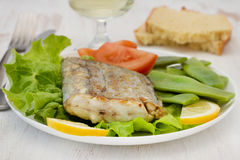 Fried swordfish with salad Royalty Free Stock Photos