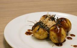 Fried Takoyaki balls dumpling. Japanese food royalty free stock photography