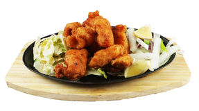 Fried tandoori fish with salad Stock Photos