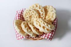 Fried tapioca cracker on basket Royalty Free Stock Photo