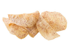fried Taro slices Dip into the caramel isolated on white backgro Royalty Free Stock Photos