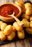 Fried tater tots with tomato sauce close up. Vertical. Fried Tater tots with tomato sauce close up on the table. Vertical Stock Image