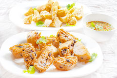 Fried thai appetizers with soy dipping sauce Royalty Free Stock Photo