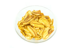Fried thinly sliced banana chip flavoured BBQ Stock Image