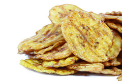 Fried thinly sliced banana chips, Stock Photography