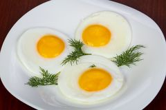Fried three eggs royalty free stock image