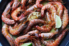 Fried tiger prawns with garlic Stock Photography