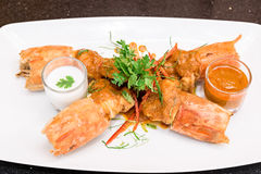 Fried Tiger River Prawn Red Curry Paste Chu Chee Kung Royalty Free Stock Photography