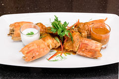 Fried Tiger River Prawn Red Curry Paste Chu Chee Kung. Fried Tiger River Prawn with Red Curry Paste Chu Chee Kung Stock Photo