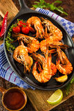 Fried tiger shrimps Stock Images