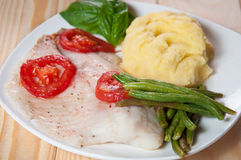 Fried tilapia fish with asparagus Stock Photo