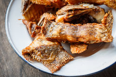 Fried Tilapia Fish profundo com sal, vista superior Foto de Stock