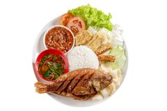 Fried tilapia fish and rice royalty free stock image