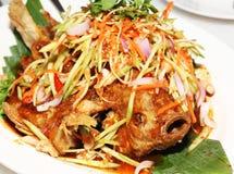 Fried Tilapia Fish Topped avec de la salade de mangue Photos libres de droits