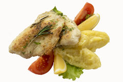 Fried tilapia with mashed potatoes. Stock Images