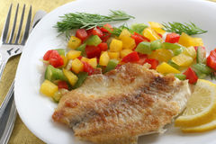 Fried tilapia with pepper Royalty Free Stock Images