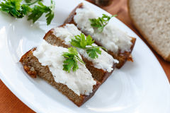 Fried toast with bacon Stock Images