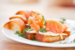 Fried toast with salted salmon Royalty Free Stock Photography