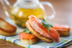 Fried toast with salted salmon Stock Photos