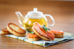 Fried toast with salted salmon Stock Images