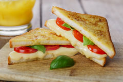 Fried toast sandwich with mozzarella Royalty Free Stock Images