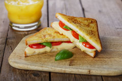 Fried toast sandwich with mozzarella Royalty Free Stock Photo