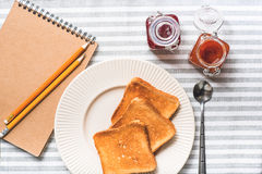 Fried toasts on plate for breakfast Royalty Free Stock Image