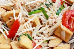 Fried tofu bean sprout royalty free stock photo