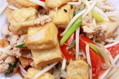 Fried tofu bean sprout Stock Photos