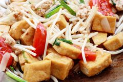 Fried tofu bean sprout Royalty Free Stock Image