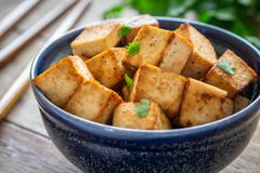 Fried tofu in bowl, Vegetarian food royalty free stock photo