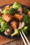 Fried tofu with broccoli, mushrooms and sesame close-up. vertica Stock Images