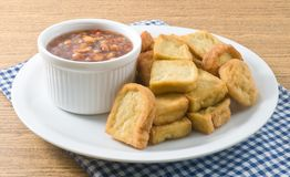 Free Fried Tofu Bubble Served With Sweet Spicy Sauce Stock Photos - 63014083