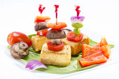 Fried tofu canape. Royalty Free Stock Images