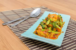 Fried Tofu with chinese kale in red curry saurce Royalty Free Stock Photo