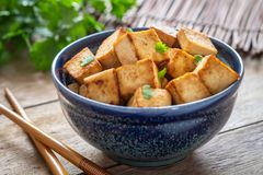 Free Fried Tofu In Bowl, Vegetarian Food Stock Photo - 123514910
