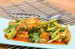 Fried Tofu met Chinese boerenkool in rode kerrie saurce Royalty-vrije Stock Afbeeldingen