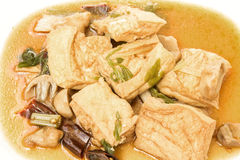 Fried tofu with mushroon Stock Images