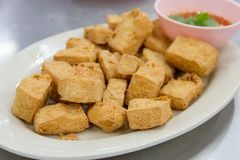 Fried tofu with sauce royalty free stock photos